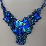 Blue & Turquoise Freeform Glass Necklace
