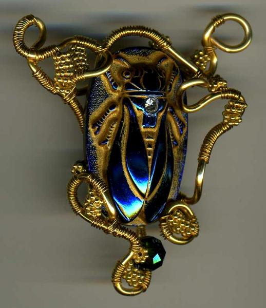 Wire Wrapped Scarab Pendant