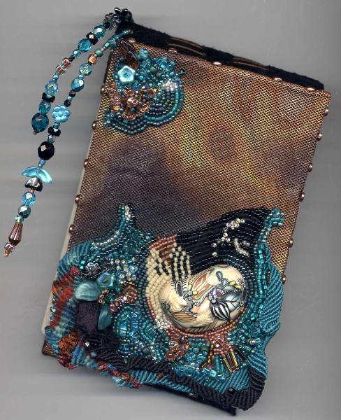 Handmade copper book with freeform Macrame and bead embroidery