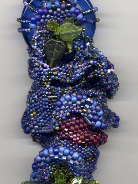 Blue Green & Maroon Freeform Peyote Stitch Amulet