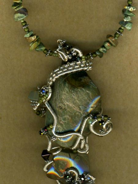 Green Stone Wire Wrapped Necklace #3