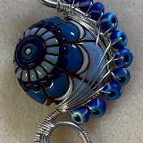 Blue ceramic bead pendant