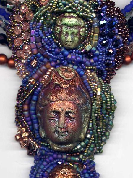 Three Faces Beaded Embroidered Necklace