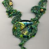 Green Fused Glass Freeform Peyote Stitch Necklace