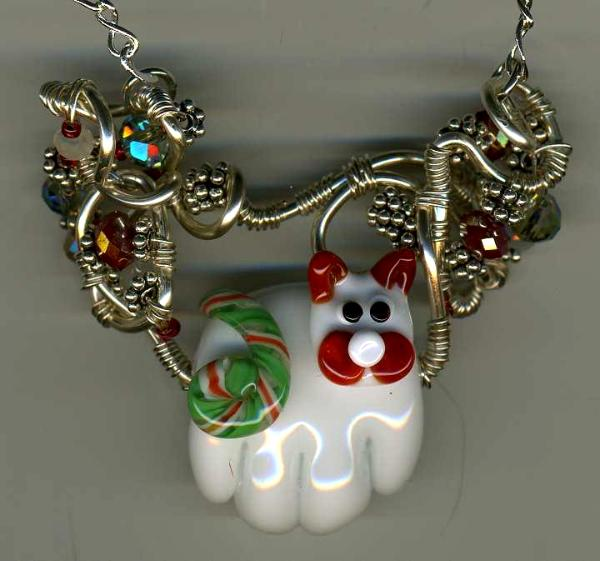 White Christmas Cat Necklace