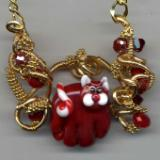 Red Christmas Cat Necklace