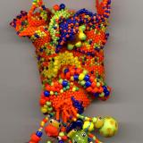 Orange Opaque Peyote Stitch Freeform Amulet