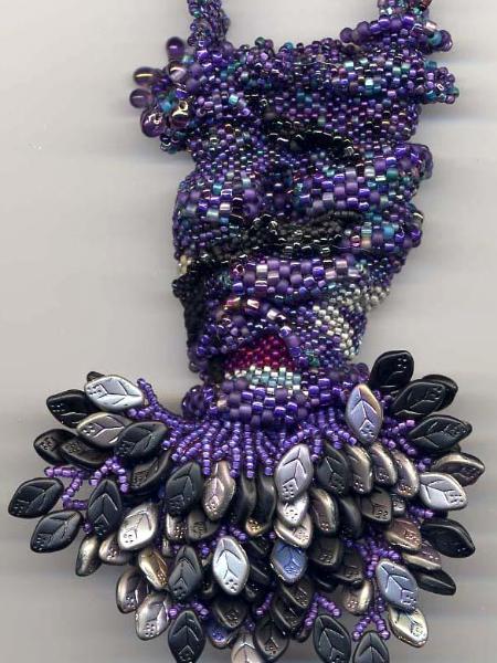 Blue, Black & Purple Peyote Freeform Amulet