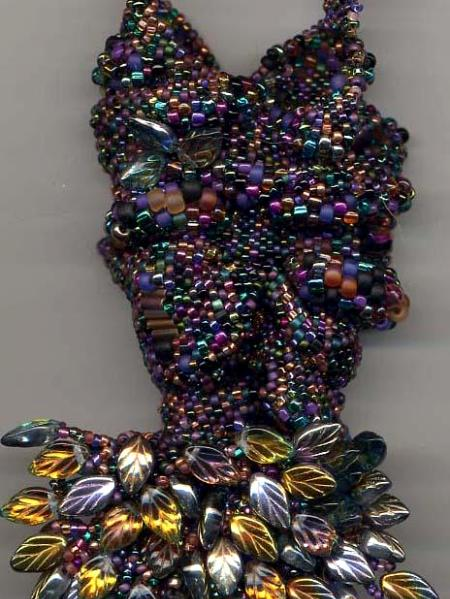 Multi-colored Freeform Peyote Stitch Amulet