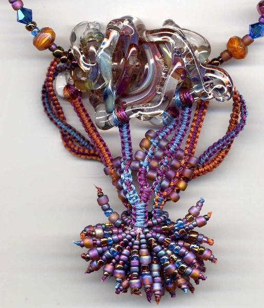 Vanessa's Lampwork Macrame Necklace 2
