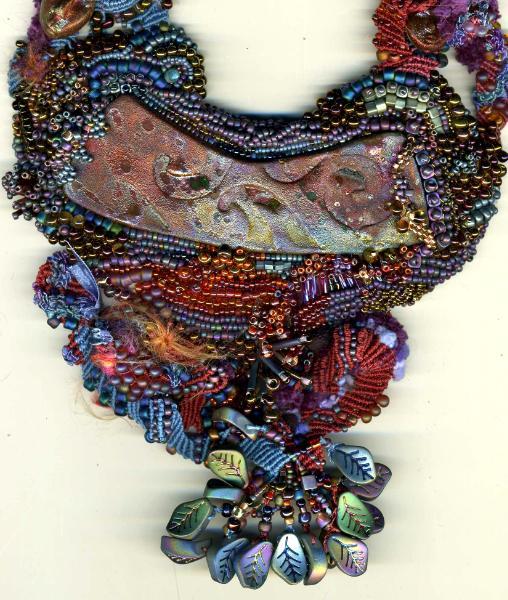 Raku Bead Embroidered Freeform Macrame Necklace