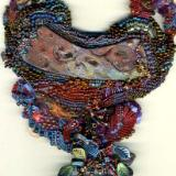 Raku Bead Embroidered Freeform Macrame Necklace