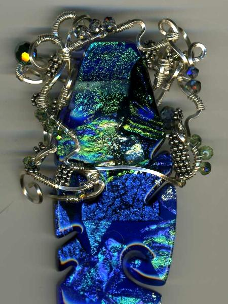 Wire Wrapped Fuzed Glass Pendant